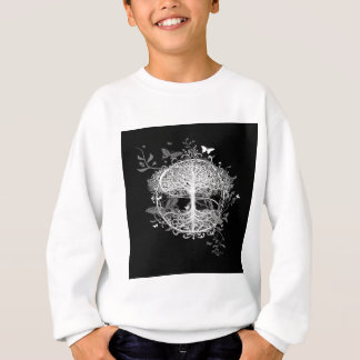 Tree of Life in White with Butterflies Sweatshirt