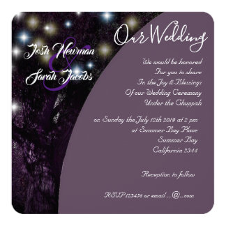 Tree of Life Jewish night lights wedding Card