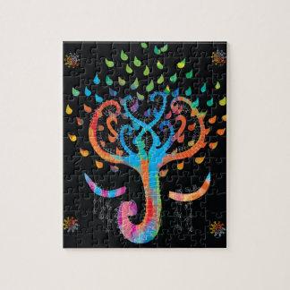 Tree of Life meets Elephant brilliant Boho Puzzle