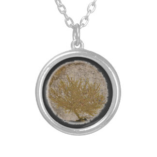TREE OF LIFE, MOSS ON A ROCK ROUND PENDANT NECKLACE