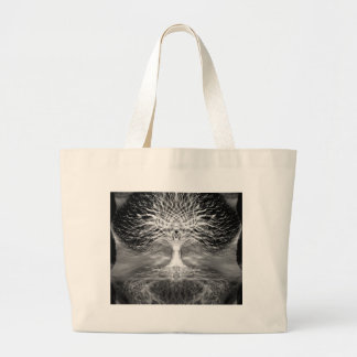 Tree of Life Peace of Mind in Black and White Jumbo Tote Bag