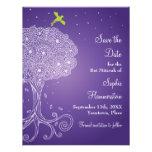 Tree of Life Purple Bat Mitzvah Save the Date Personalised Invitations