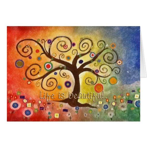 Tree of Life Rainbow Beautiful Painting Fine Art Greeting Card
