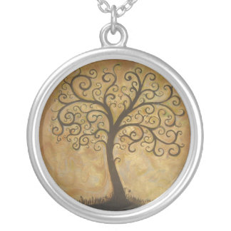 Tree of Life Subtitle Round Pendant Necklace