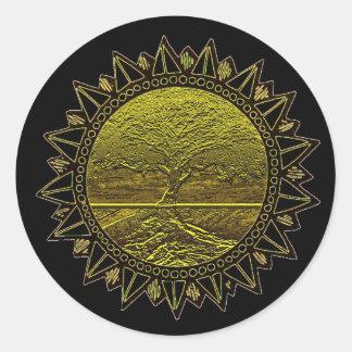 Tree of Life Sun Salutation Classic Round Sticker