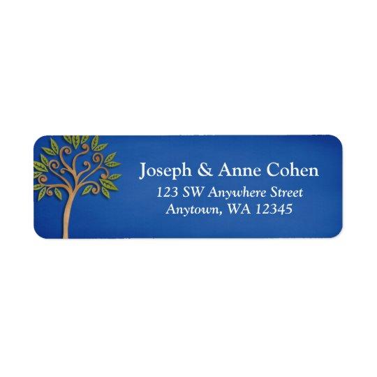 Tree of Life Swirls Blue Return Address Return Address Label
