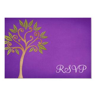 Tree of Life Swirls Purple Bat Mitzvah RSVP Card