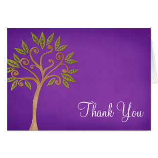 Tree of Life Swirls Purple Thank You Note Card
