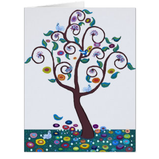 Tree of Life with birds and flowers Card