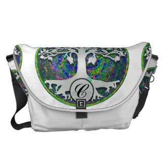 Tree of Life with Butterfly in Circle Commuter Bags