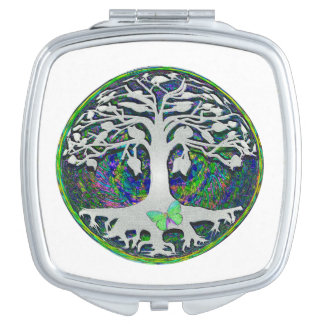 Tree of Life with Butterfly in Circle Vanity Mirror