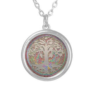 Tree of Life with Butterfly Silver Plated Necklace