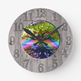 Tree of Life with Rainbow and Wood Frame Round Clock