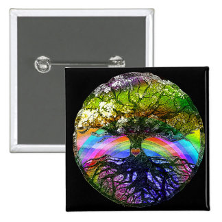Tree of Life with Rainbow Heart 15 Cm Square Badge