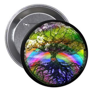 Tree of Life with Rainbow Heart 7.5 Cm Round Badge