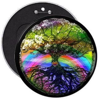 Tree of Life with Rainbow Heart 6 Cm Round Badge