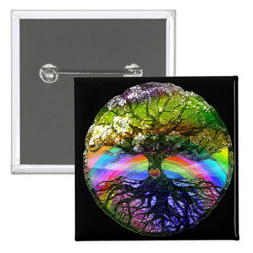 Tree of Life with Rainbow Heart Pinback Button