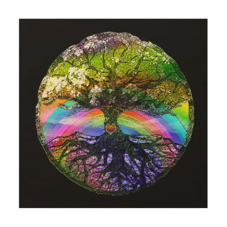 Tree of Life with Rainbow Heart Wood Print