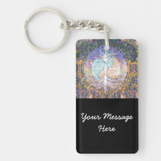 Tree of life with ying yang and heart symbol key ring