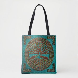 Tree of life  -Yggdrasil  - Embossed Faux Leather Tote Bag