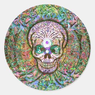 Tree of Life, Yin Yang Eyes, Skull Round Sticker