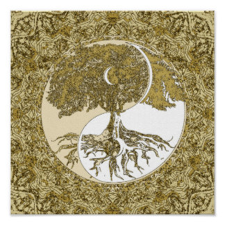 Tree of Life Yin Yang Gold Mandala Poster