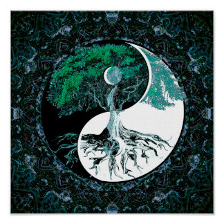 Tree of Life Yin Yang Moonlight Poster