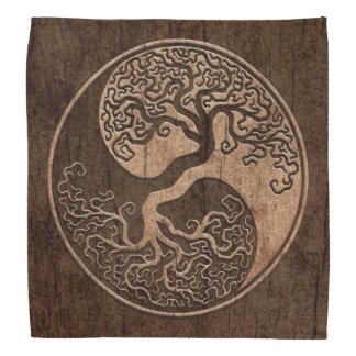 Tree of Life Yin Yang with Wood Grain Effect Bandana