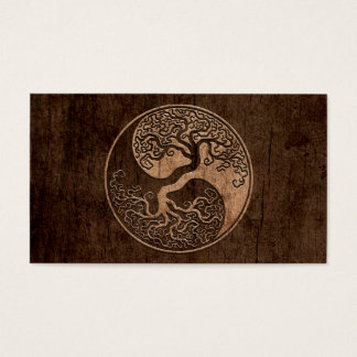 Tree of Life Yin Yang with Wood Grain Effect Business Card