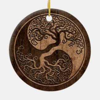 Tree of Life Yin Yang with Wood Grain Effect Ceramic Ornament