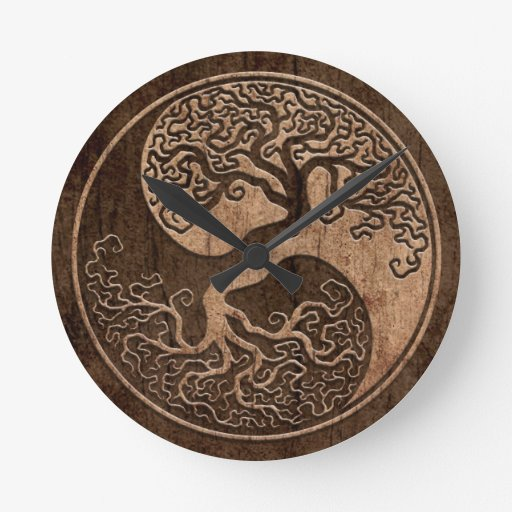 Tree of Life Yin Yang with Wood Grain Effect Round Wall Clock