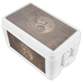 Tree of Life Yin Yang with Wood Grain Effect Ice Chest