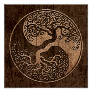 Tree of Life Yin Yang with Wood Grain Effect Posters