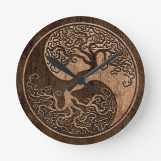 Tree of Life Yin Yang with Wood Grain Effect Round Clock