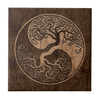 Tree of Life Yin Yang with Wood Grain Effect Small Square Tile