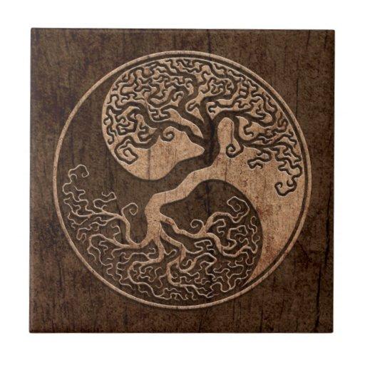 Tree of Life Yin Yang with Wood Grain Effect Ceramic Tile