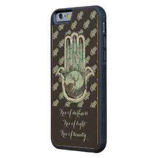 Tree of Light and Dark (Hamsa Hand) Carved Maple iPhone 6 Bumper Case