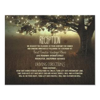 tree of lights rustic wedding reception 11 cm x 14 cm invitation card