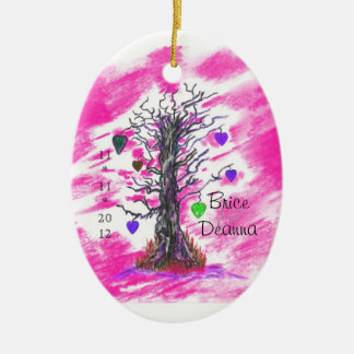 Tree of Love  Pink Wedding Favor Ceramic Oval Decoration