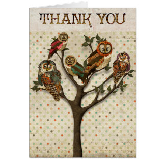 Tree of Owls Thank You  Card