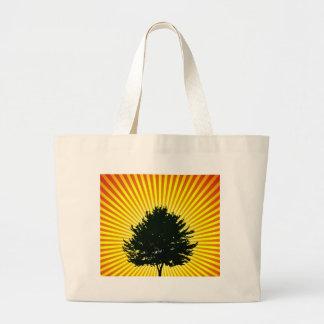 tree on fields landscape illustration jumbo tote bag