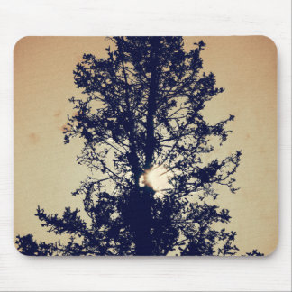 Tree on old canvas mouse pad