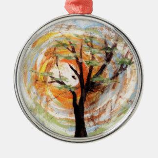 Tree on Tree Metal Ornament