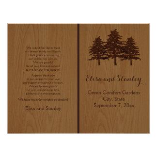 Tree on wood brown woodland wedding program personalized flyer