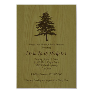 Tree on wood green woodland wedding bridal shower card