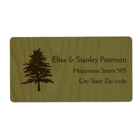 Tree on wood green woodland wedding shipping label