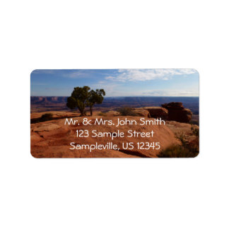 Tree Out of Red Rocks at Canyonlands National Park Address Label