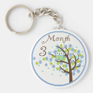 Tree Owl Milestone Month 3 Key Ring