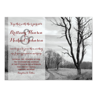 Tree Path Rustic Country Wedding Invitations
