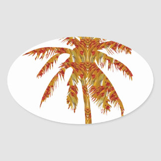 Tree Red and Gold Symbol Desert NVN39 navinJOSHI Oval Sticker